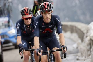 Rohan Dennis paces Ineos Grenadiers teammate Tao Geoghegan Hart up the Passo dello Stelvio on stage 18 of the 2020 Giro d'Italia