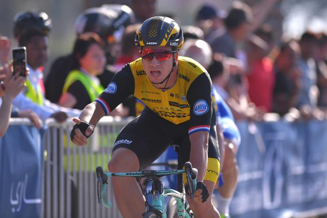 Dylan Groenewegen crosses the line for victory on stage 1 of the Dubai Tour