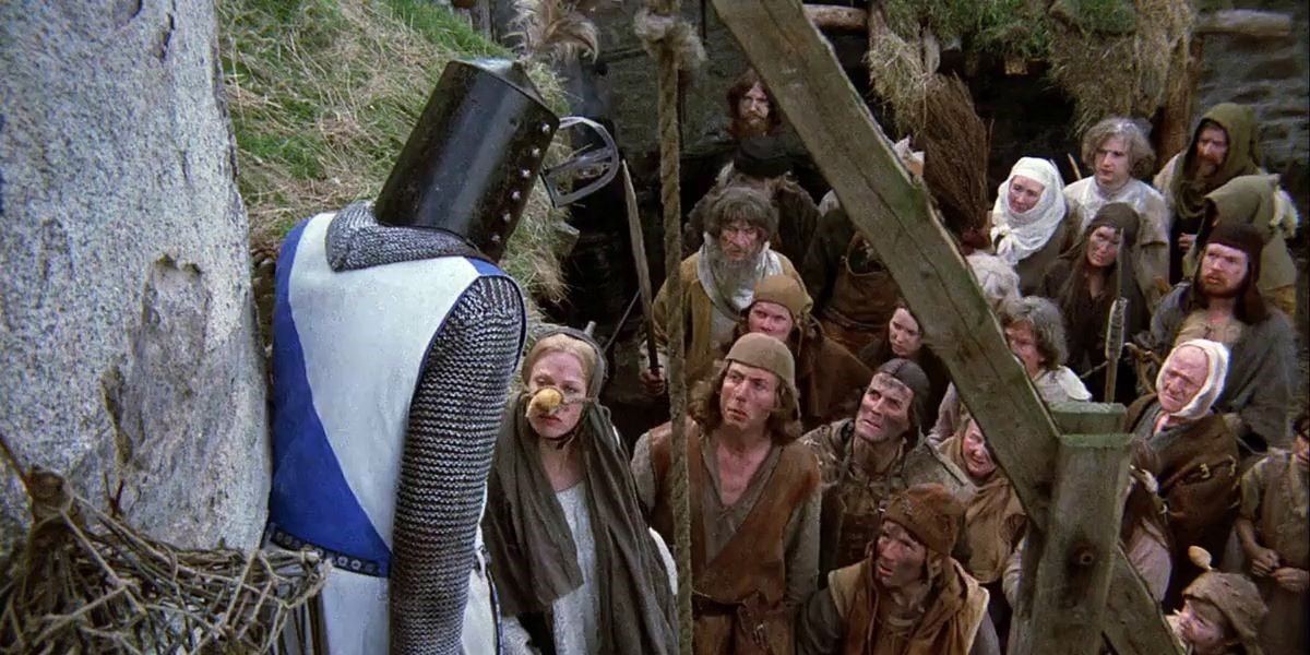Terry Jones, Eric Idle and John Cleese in Monty Python and the Holy Grail