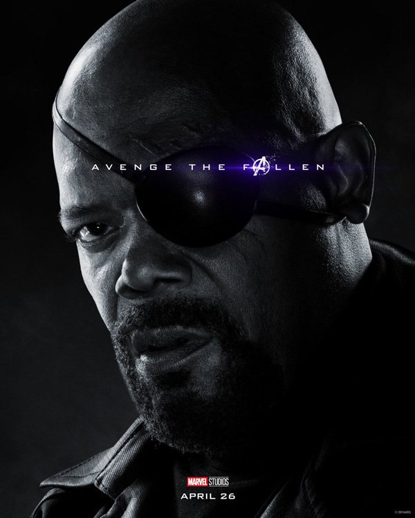 Samuel L Jackson with eye patch in official Avengers: Endgame poser