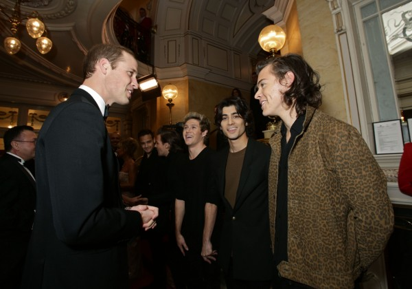 Prince William and Harry Styles at the Royal Variety Performance