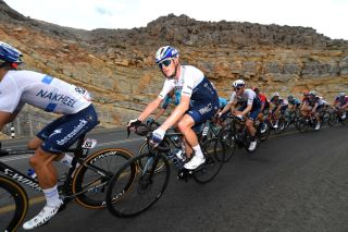 JEBEL JAISON UNITED ARAB EMIRATES FEBRUARY 25 Chris Froome of The United Kingdom and Team Israel Startup Nation during the 3rd UAE Tour 2021 Stage 5 a 170km stage from Fujairah Marine Club to Jebel Jaison 1489m Peloton Mountains First Hairpin 478m UAETour February 25 2021 in Jebel Jaison United Arab Emirates Photo by Tim de WaeleGetty Images