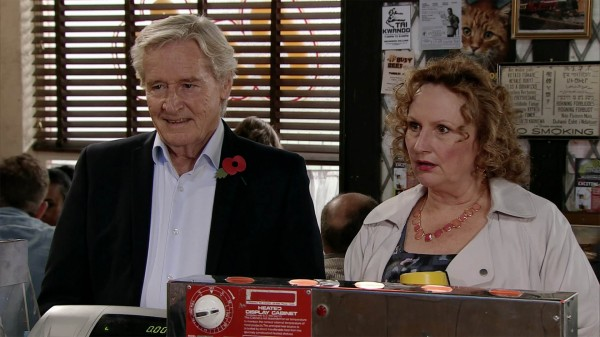 Coronation Street's Ken (William Roache) and Nessa (Sadie Shimmin)