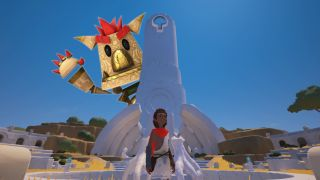 A photo illustration of Knack towering over the main character from Rime