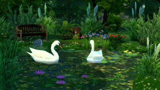 Sims 4 screenshot of two swans on a pond
