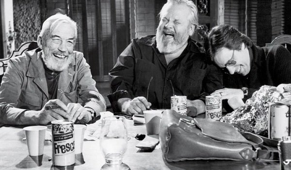 The Other Side Of The Wind John Huston Orson Welles Peter Bogdanovich laughing at the table