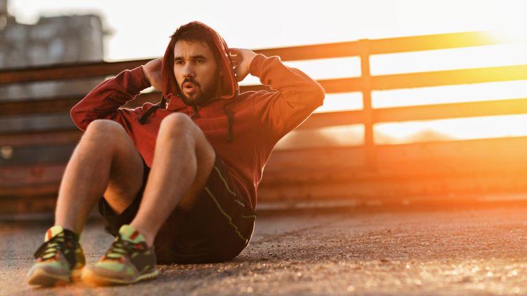 Man workouts outside