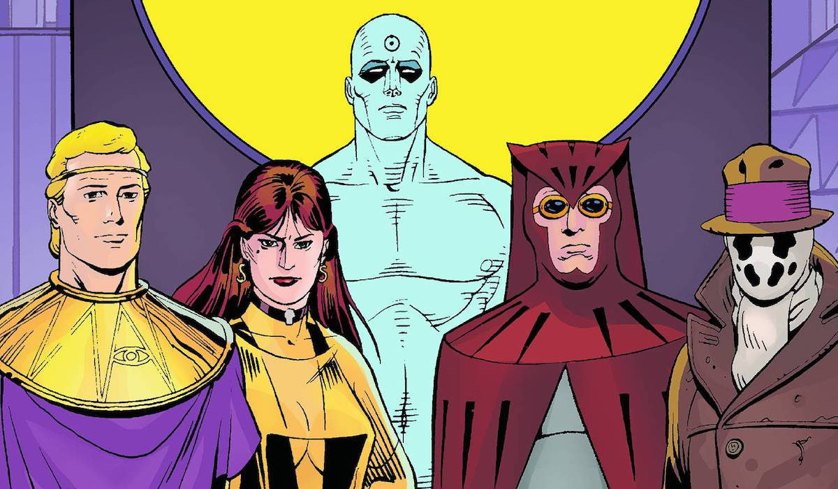 watchmen comic cover team standing
