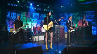 Violet Grohl, Dave Grohl, Beck, St. Vincent, Krist Novoselic and Pat Smear perform onstage during The Art of Elysium and We are Here Present Heaven is Rock and Roll at Hollywood Palladium on January 04, 2020 in Los Angeles, California