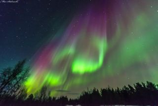 The Northern Lights, like these captured above Sweden, result from magnetic storms.