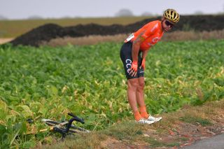 WAVRE BELGIUM AUGUST 17 Greg Van Avermaet of Belgium and CCC Team Crash Injury during the 41st Tour de Wallonie 2020 Stage 2 a 1723km stage from Frasnes Lez Anvaing to Wavre TourdeWallonie TRW2020 on August 17 2020 in Wavre Belgium Photo by Luc ClaessenGetty Images