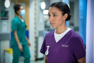 Adele James as Tina Mollett in Casualty.