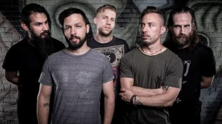 The Dillinger Escape Plan, L-R: Kevin Antreassian, Ben Weinman, Billy Rymer, Greg Puciato, Liam Wilson