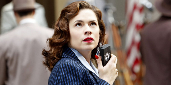 Agent Carter Hayley Atwell radioing in action