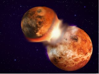 This image depicts the catastrophic collision of two planetary bodies similar in composition that led to the formation of the Earth and its moon 4.5 billion years ago.