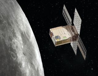 An artist's depiction of the Lunar Flashlight cubesat at work around the moon.