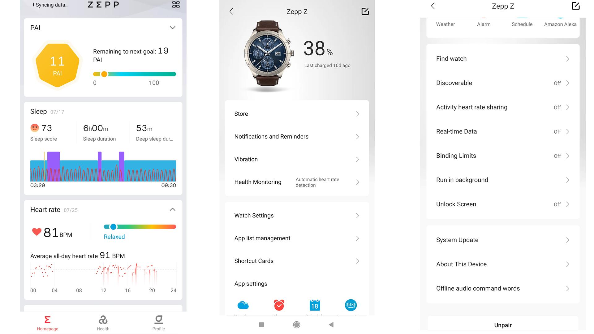 Amazfit Zepp Z app data