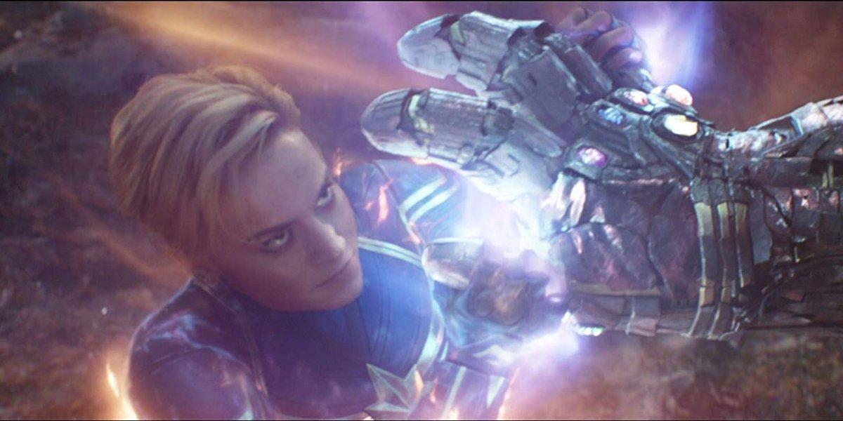Avengers: Endgame Captain Marvel holding back Thanos' gauntlet clad hand