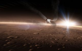 spaceX's Dragon zooming along Mars' Surface