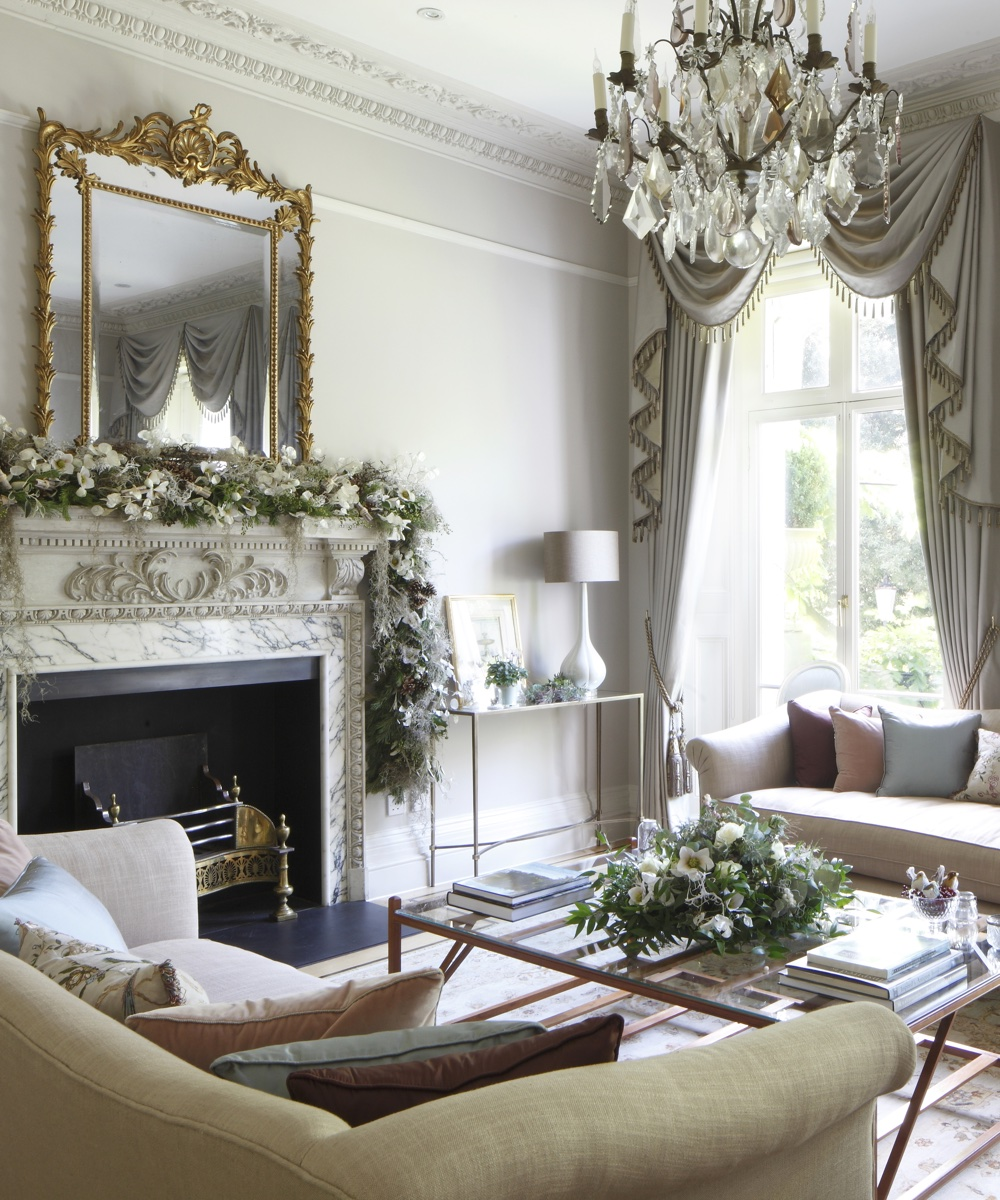 A classic period sitting room in all its festive finery | Homes & Gardens