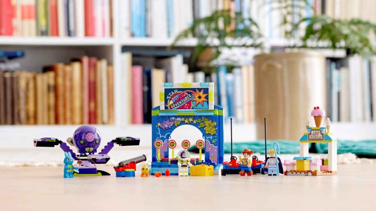 Lego sale: Lego Toy Story Carnival set infront of bookcase