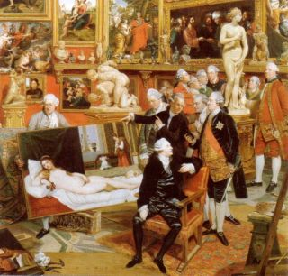 Detail of John Zoffany's 1772 painting The Tribuna of the Uffizi (now in the Royal Collection), showing the Venus (right) on show in the Tribuna, surrounded by English and Italian connoisseurs.