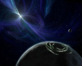 "Three planets are known to orbit the pulsar PSR B1257+12, as depicted in this artist's illustration. In a new study, researchers suggest that a half-dozen other pulsar-circling planets might be made of exotic ""strange matter."""