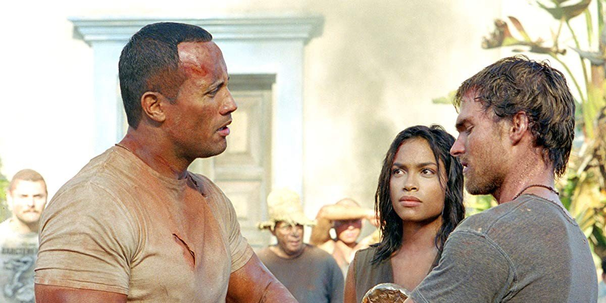 Dwayne Johnson with Seann William Scott and Rosario Dawson