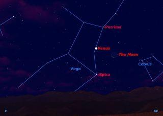 Moon, Venus and Spica November 2012 Sky Map