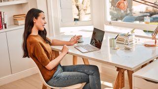 woman using microsoft office on PC