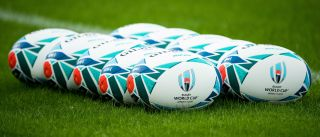 Official match balls are seen during Ireland's captain's run training session at the Tokyo stadium on October 18, 2019, on the eve of their quarter-final against New Zealand in the Japan 2019 Rugby World Cup.