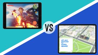 iPad vs iPad Pro, iPad 10.2 with video game shown on the screen on the left, a sign saying 'versus' in the middle, iPad Pro with the Maps app on the screen on the right