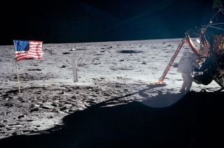 Neil Armstrong on Moon Full Shot