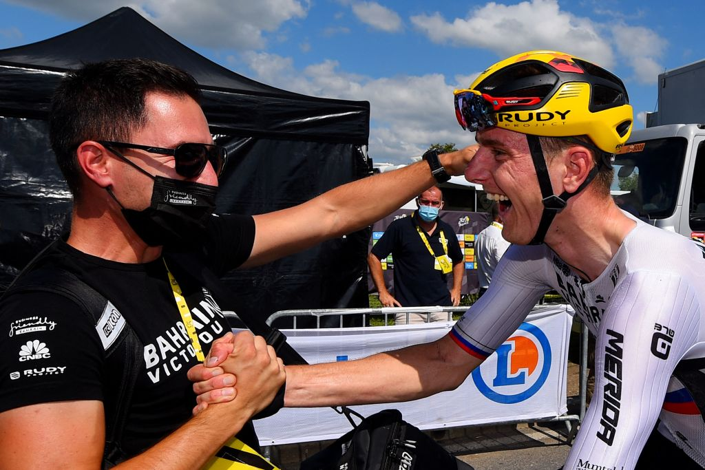 Team Bahrains Matej Mohoric of Slovenia celebrates at the end of during the 19th stage of the 108th edition of the Tour de France cycling race 207 km between Mourenx and Libourne on July 16 2021 Photo by Dario BELINGHERI POOL AFP Photo by DARIO BELINGHERIPOOLAFP via Getty Images