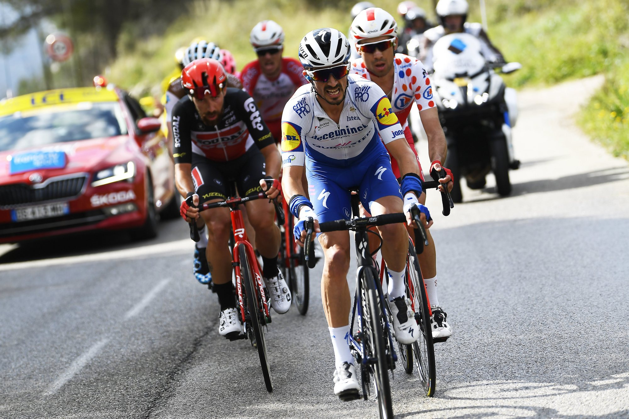Paris Nice 2020 78th Edition 7th stage Nice Valdeblore La Colmiane 1665 km 14032020 Thomas De Gendt BEL Lotto Soudal Julian Alaphilippe FRA Deceuninck Quick Step photo Nico VereeckenPNBettiniPhoto2020