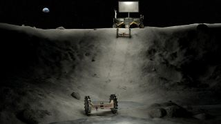 An artist's depiction of machinery working in a permanently shadowed crater on the moon.