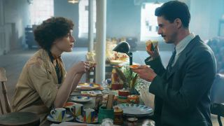 Phoebe Dynevor and Matthew Goode in 'The Colour Room'.