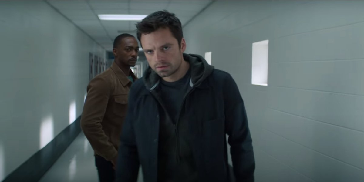 Falcon and Winter Soldier Anthony Mackie and Sebastian Stan brooding in a hospital corridor