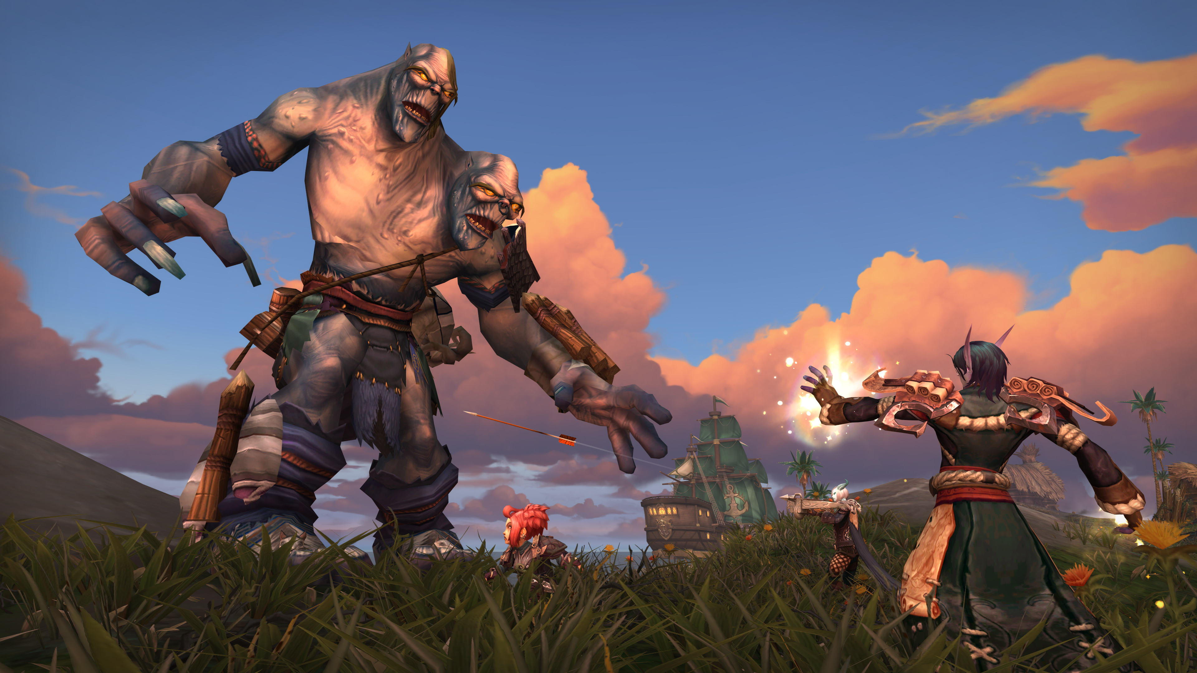 World of Warcraft player fighting two-head ogre