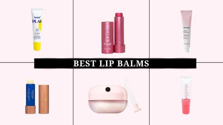 best lip balms: collage image of lip balms from Laneige, Vaseline, Fresh, and more