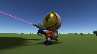 An image of Jebediah Kerman from the game Kerbal Space Program. He is firing a welding laser into the air with a complete lack of regard for safety protocols.