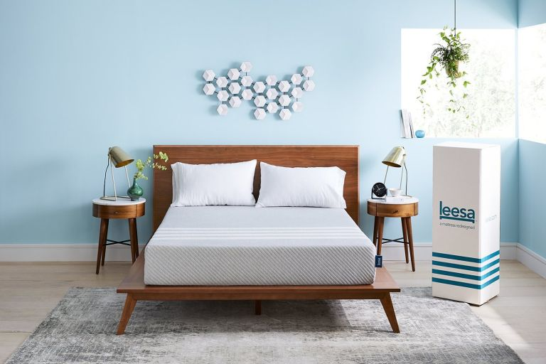 leesa mattress deal: leesa mattress in bedroom on bed with box