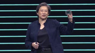 AMD CEO Dr. Lisa Su holding an AMD EPYC server processor at CES 2020