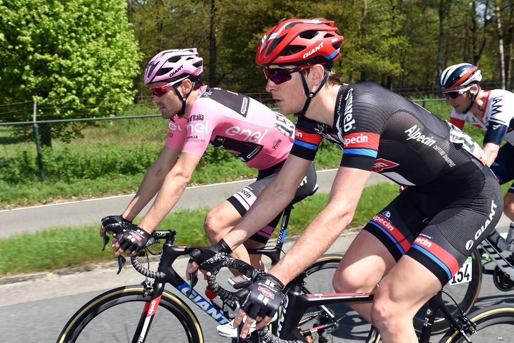 Thumbnail Credit (cyclingweekly.co.uk): Chad Haga and Tom Dumoulin on stage two of the 2016 Giro d'Italia