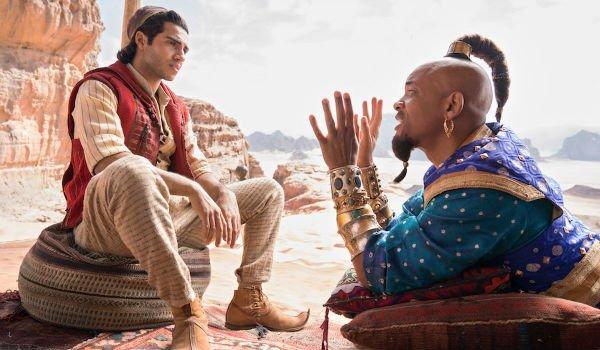 Aladdin and Genie talk in the desert in Aladdin (2019)