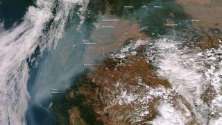 The Suomi NPP satellite snapped this photo of haze from wildfires throughout the northwest United States hanging over the West Coast on Sept. 24, 2012.
