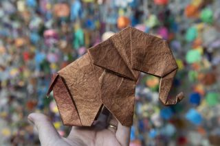 metallic origami elephant