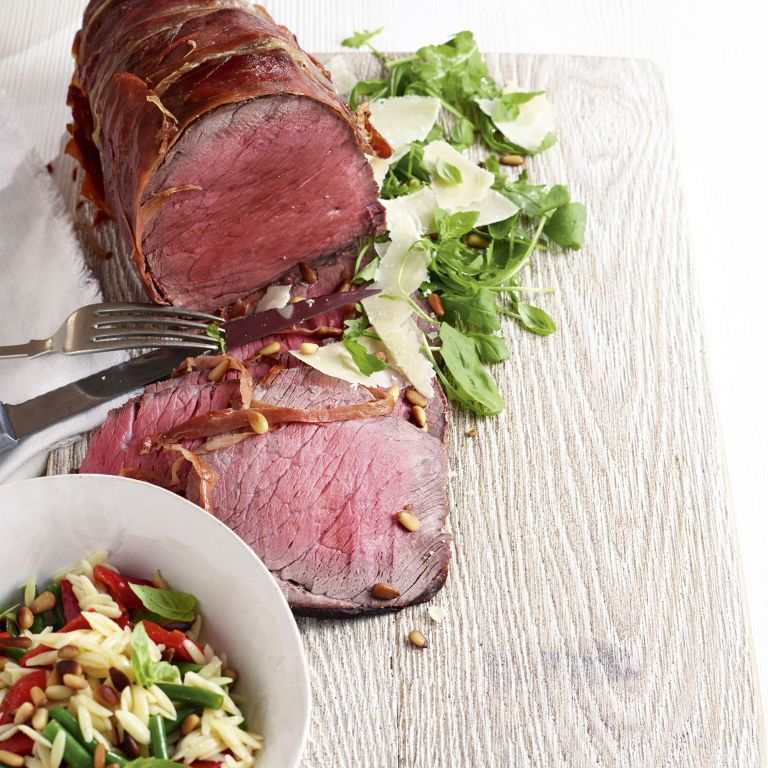 Parma-Wrapped Beef Topside with Orzo Salad photo