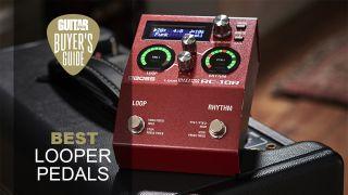 Boss RC-10R looper pedal sat on top of a guitar amp