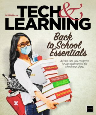 September 2021 cover showing young teacher wearing mask and carrying stack of books, computer keyboard and microscope
